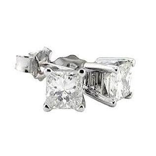 1 Carat Princess Cut Diamond Stud Earrings White Gold 14K Stud Earrings