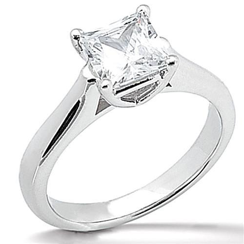 1 Carat Princess Cut E VVS1 Diamond Solitaire Engagement Ring Solitaire Ring