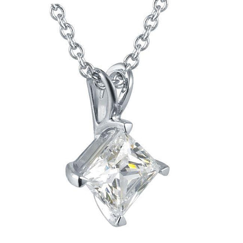 1 Carat Princess Cut Solitaire Diamond Pendant Solid White Gold 14K Jewelry Pendant
