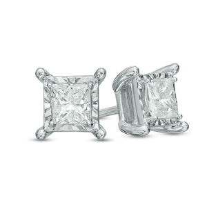 1 Carat Princess Cut Stud Diamond Earring 14K White Gold Stud Earrings