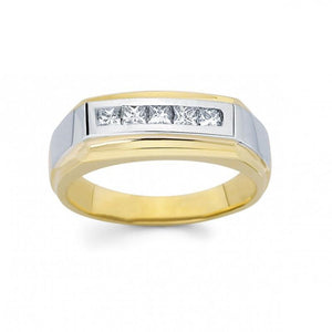 1 Carat Princess Diamond Men Ring Two Tone Gold 14K Ring