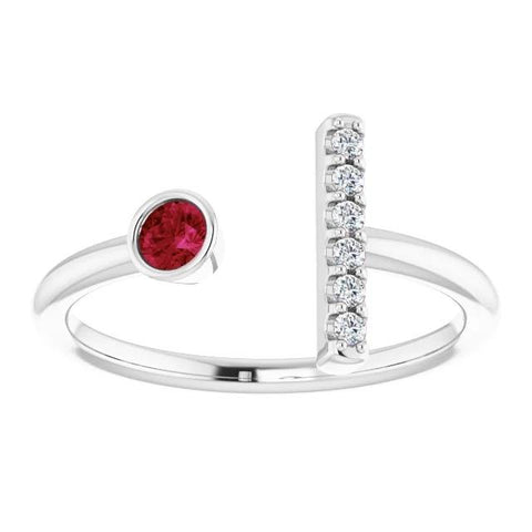 1 Carat Promise Ring Open Style Diamond & Ruby White Gold 14K Gemstone Ring
