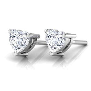 1 Carat Prong Set Heart Cut Diamond Stud Earring 14K White Gold Stud Earrings