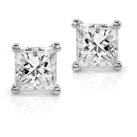 1 Carat Prong Set Princess Cut Diamond Stud Earring 14K White Gold Stud Earrings