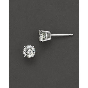 1 Carat Prong Set Round Diamond Stud Earring 14K White Gold Stud Earrings