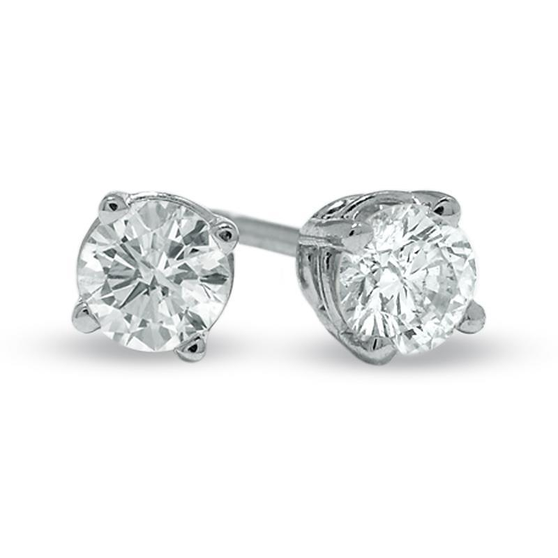 1 Carat Prong Set Solitaire Round Diamond Stud Earrings Stud Earrings