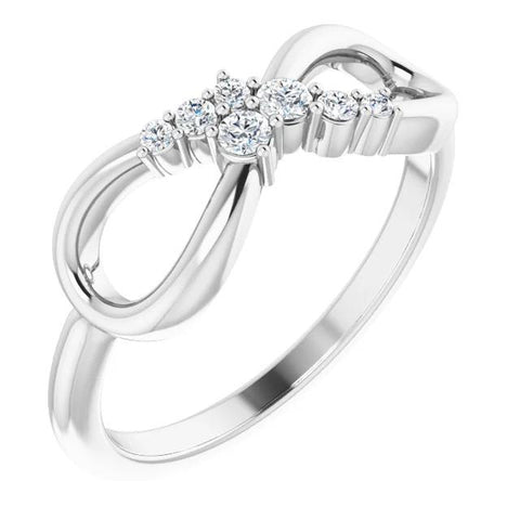 1 Carat Ring Diamond Engagement Infinity Style White Gold 14K Engagement Ring