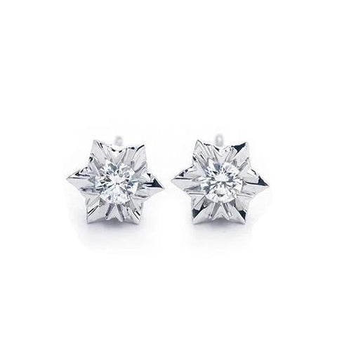 1 Carat Round Brilliant Cut Diamond Stud Earrings 14K White Gold Stud Earrings