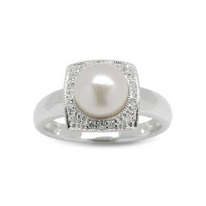 1 Carat Round Cut Pearl Diamond Engagement Ring White Gold 14K Gemstone Ring
