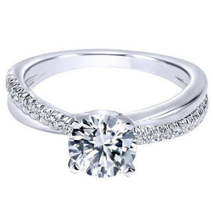 1 Carat Round Diamond Anniversary Ring White Gold 14K Solitaire Ring with Accents