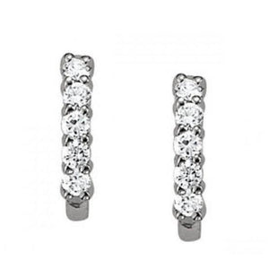 1 Carat Round Diamond J-Hoop Earrings 14K White Gold Hoop Earrings