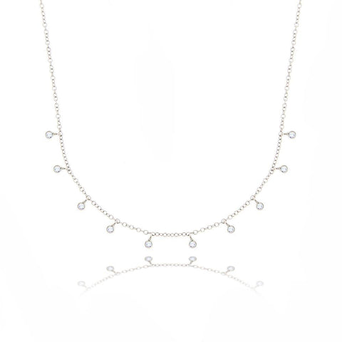1 Carat Round Diamond Necklace Solid White Gold 14K Women Jewelry Necklace