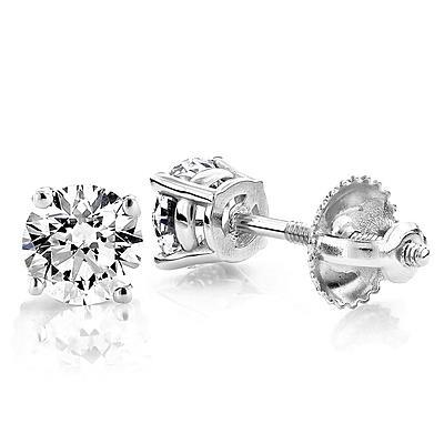 1 Carat Round Diamond Prong Set Lady Stud Earrings Stud Earrings
