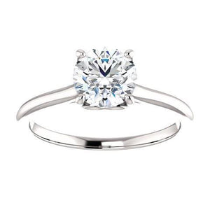 1 Carat Round Diamond Solitaire Engagement Ring 14K White Gold Solitaire Ring