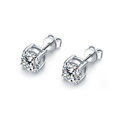 1 Carat Solitaire Round Cut Diamond Stud Earring 14K White Gold Stud Earrings