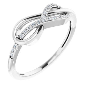 1 Carat Twisted Diamond Infinity Ring White Gold 14K Band
