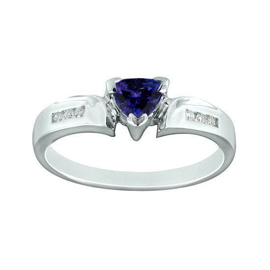 1.21 Carat Trillion Aaa Tanzanite Diamonds Fancy Ring Gold White