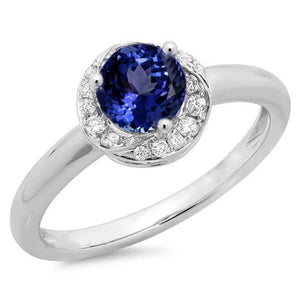 1.25 Carats Round Center Tanzanite Fancy Ring