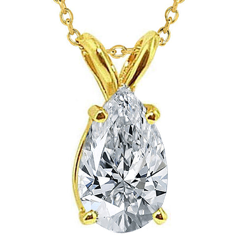 1.25 Ct. Pear Cut Diamond Pendant Necklace Gold Yellow