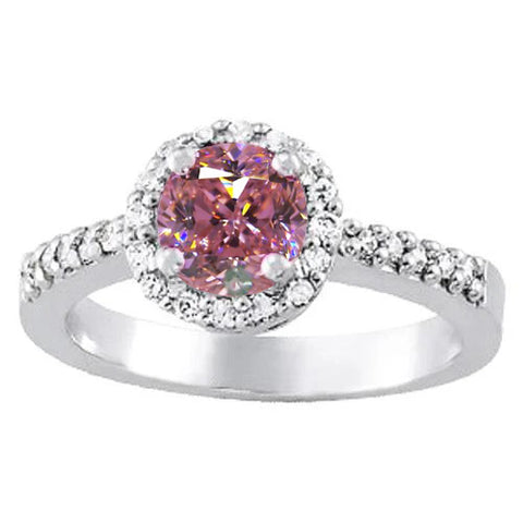 1.25 Carats Round Pink Sapphire Solitaire With Accent Engagement Ring