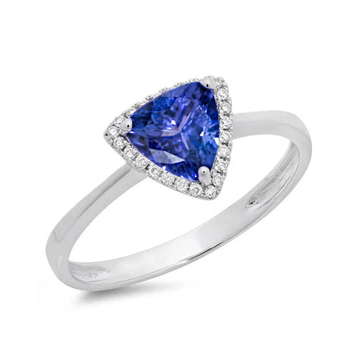 1.50 Carats Tanzanite And Round Diamond Fancy Ring White Gold 14K