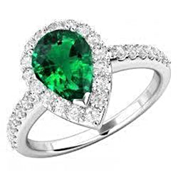 1.5 Ct Pear Cut Green Emerald And Diamond Ring