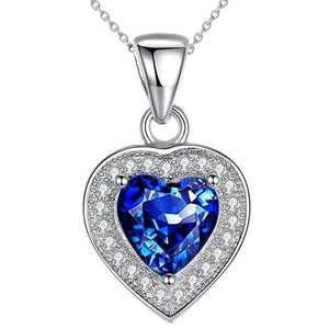 1.50 Ct Sri Lanka Blue Sapphire & Diamond Pendant 14K White Gold