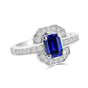 1.70 Carats Emerald Cut Ceylon Sapphire Diamond Ring White Gold 14K