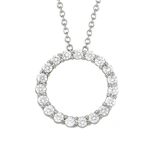 1.75 Ct. Round Diamond Pendant Necklace Without Chain White Gold 14K