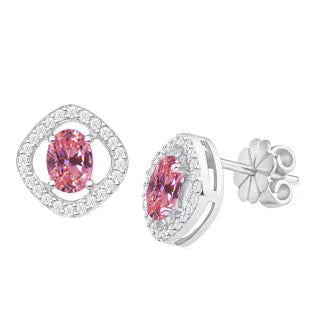 1.90 Ct Pink Sapphire Diamond Stud Halo Earring 14K White Gold