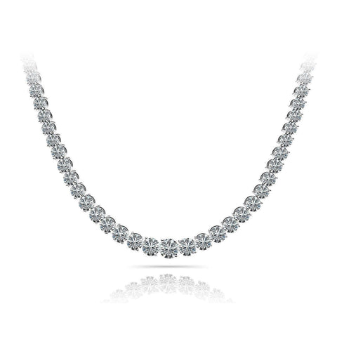 10 Carats Natural Diamonds Women Tennis Necklace White Gold 14K Necklace