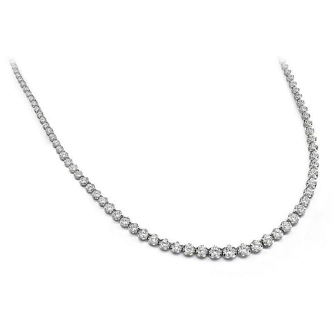 10 Carats Round Diamonds Tennis Necklace White Gold 14K Necklace