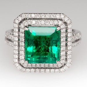 10 Ct Green Princess Cut Emerald With Diamond Ring Gemstone Ring