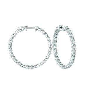 10 Pointer Hoop Earrings/Patented Snap Lock 5.04 Carats 14K White Hoop Earrings