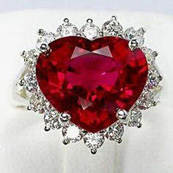 10.75 Carats Heart Shaped Red Aaa Ruby With Diamond Ring