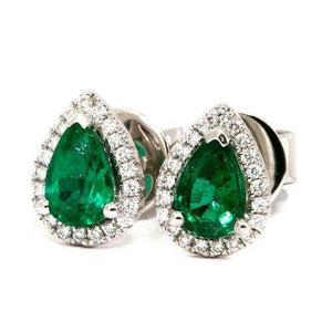 10.00 Carats Pear Cut Emerald With Round Diamonds Studs Halo Earrings 14K Studs- Halo