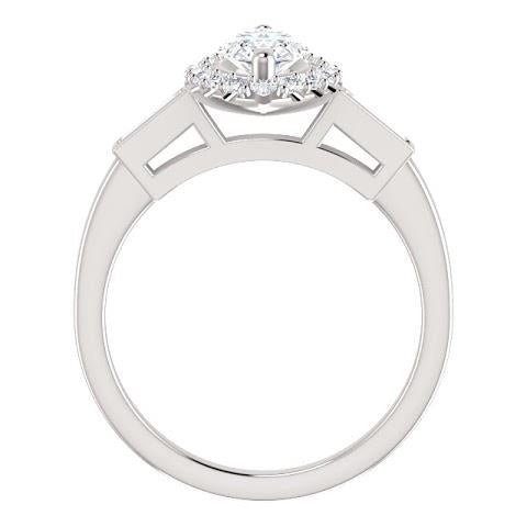 1.30 Carats Marquise Center Diamond And Baguette Halo Engagement Ring Halo Ring
