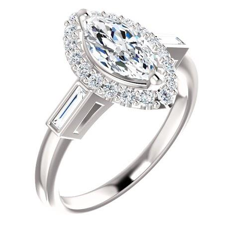 1.3 Ct Marquise Center Diamond And Baguette Halo Engagement Ring Gold Halo Ring