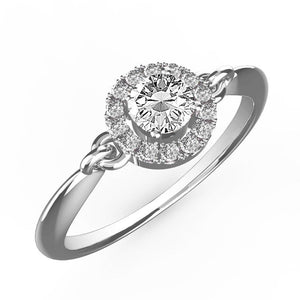 1.05 Carats Round Cut Halo Diamond Wedding Ring Solid White Gold 14K Halo Ring