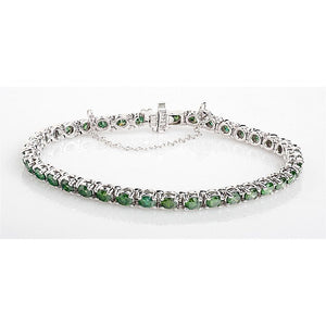 10.5 Ct Green  Diamond  Tennis Bracelet 14K White Gold Tennis Bracelet