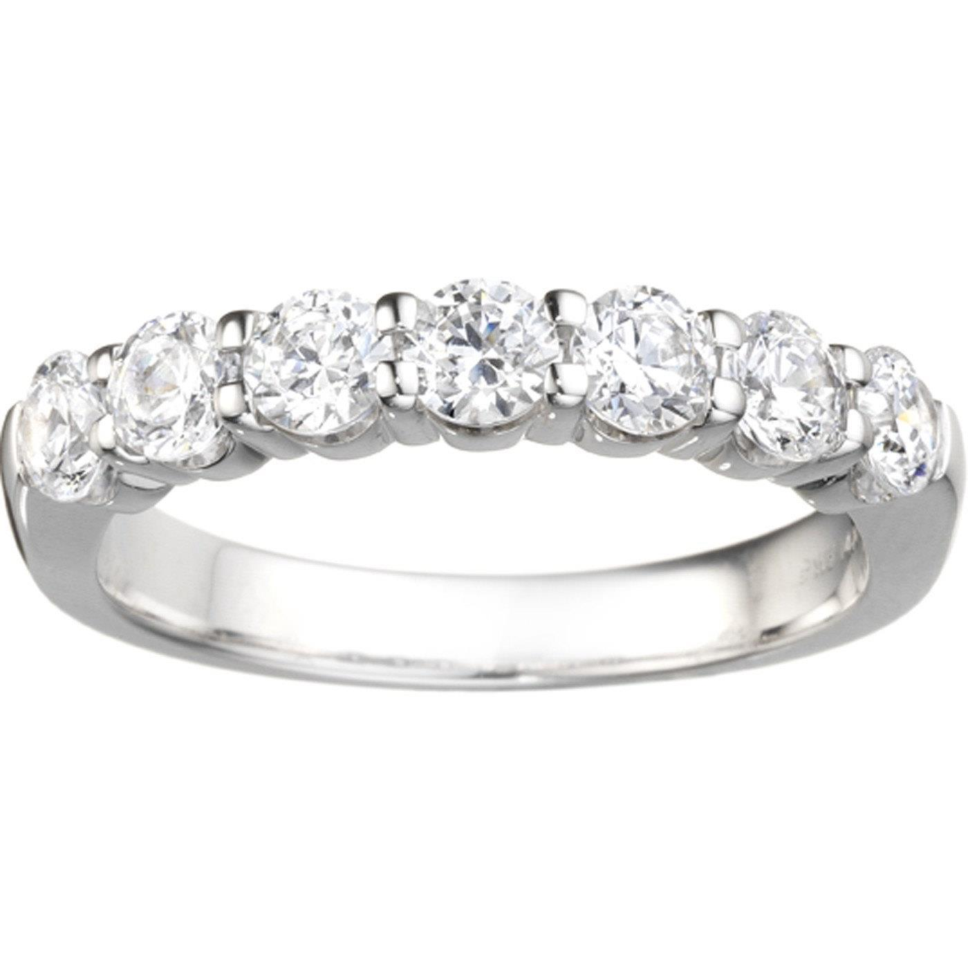 1.05 Ct Round Diamond Wedding Band 14K White Gold Band