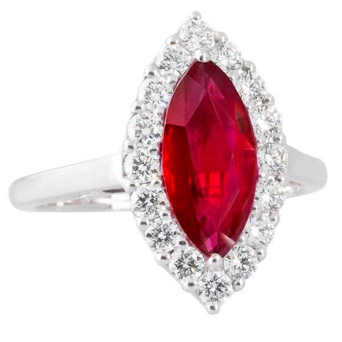 10.50 Carats Diamond With Red Ruby Gemstone Ring White Gold 14K Gemstone Ring