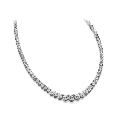 11 Carats Round Diamonds Tennis Necklace Women Jewelry Gold 14K Necklace