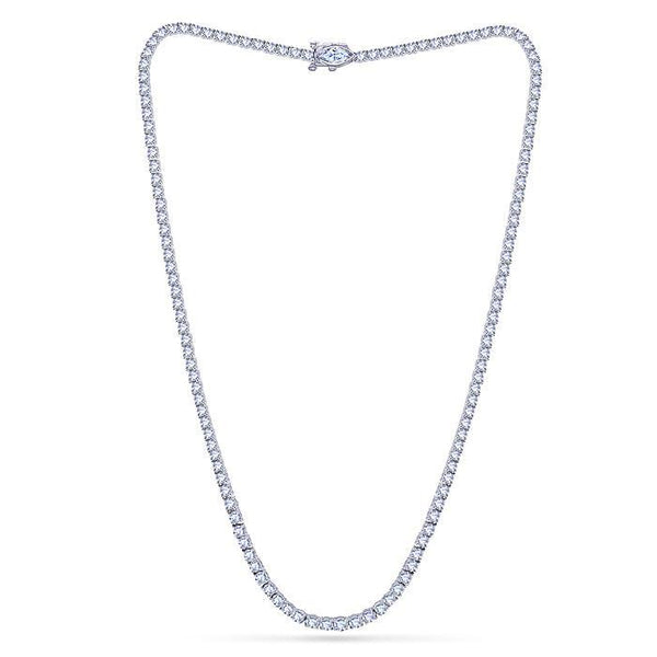 11 Carats Sparkling Diamonds Graduated Tennis Necklace White Gold Jewelry New Necklace