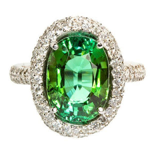 11 Ct Green Oval Cut Tourmaline Diamond Wedding Ring 14K White Gold Gemstone Ring