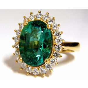 11 Ct Oval Cut Green Emerald With Diamond Wedding Ring 14K Yellow Gold Gemstone Ring