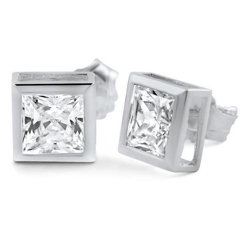 1.1 Ct Princess Cut Diamond Stud Earrings 14K White Gold Stud Earrings