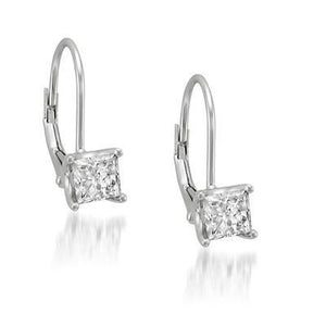 1.1 Ct Princess Cut Solitaire Diamond Leverback Earring Leverback Earrings
