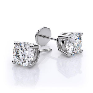 1.1 Ct Round 4 Prong Set Diamond Stud Earring 14K White Gold Stud Earrings