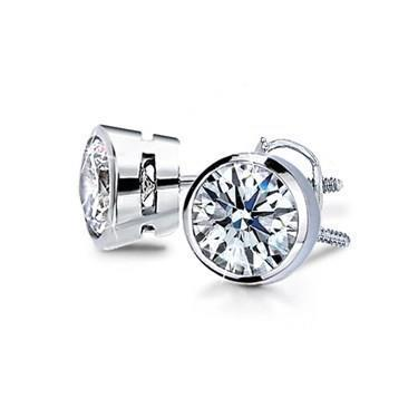 1.1 Ct Round Bezel Set Diamond Stud Earring Stud Earrings